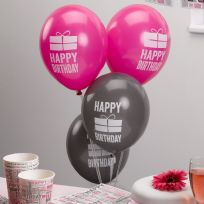 Happy Birthday Pink & Grey Balloons (8)